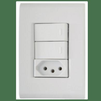 -Interruptor-de-Embutir-2-Teclas-Simples-- Tomada-2P--T-10A-Horizontal-Liz---branco---220v